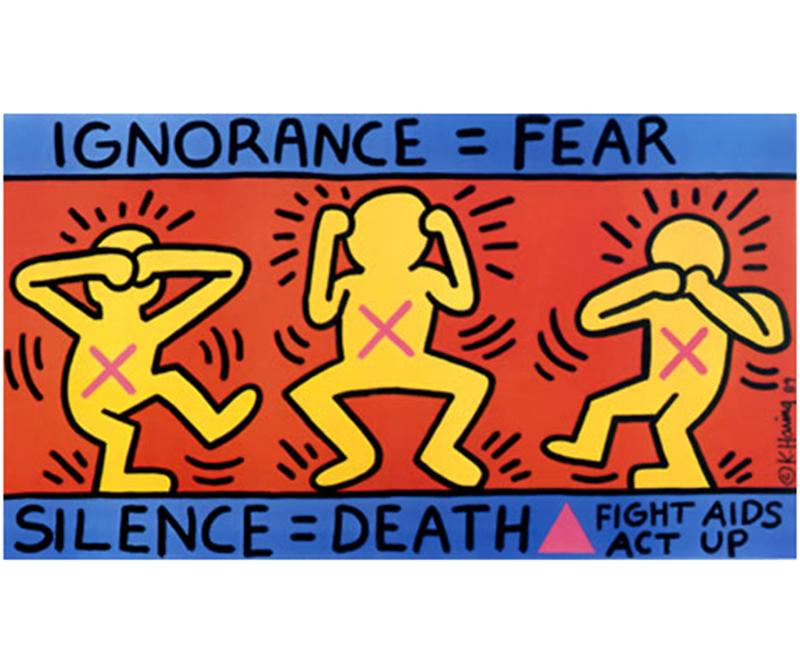 Poster de lutte contre le sida par Keith Haring