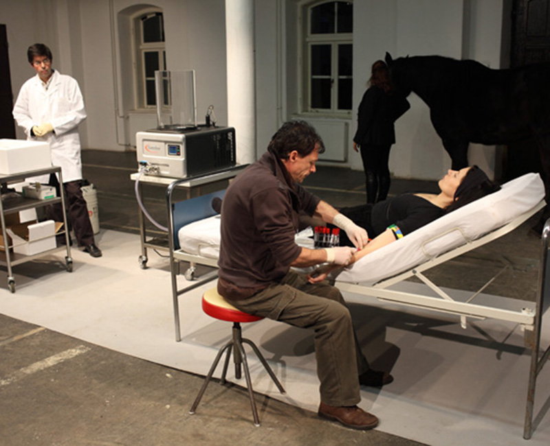 Marion Laval-Jeantet durant sa performance de transfusion de sang animal